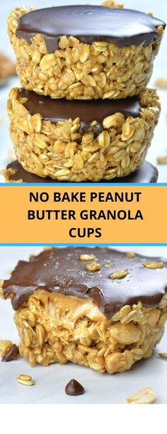 No Bake Peanut Butter Granola Cups – Spend With Penies Peanut Butter Granola, Peanut Butter Desserts, Cookie Desserts, Breakfast Recipes, Snack Recipes, Dessert Recipes, Breakfast Snacks, Delicious Desserts, Yummy Food