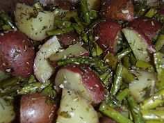 Roasted red potatoes and asparagus recipe. oven baked.