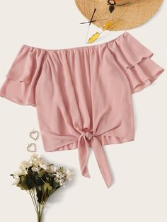 Off Shoulder Layered Sleeve Knotted Crop Top Girls Fashion Clothes, Teen Fashion Outfits, Girl Outfits, Clothes For Women, Crop Top Outfits, Cute Casual Outfits, Pretty Outfits, Off The Shoulder Top Outfit, Crop Tops For Kids