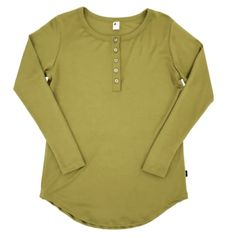 Women's Long Sleeve Henley| Light Green Our moss green is aperfect earth tone for your fall/winter wardrobe. Introducing our new Women's Long Sleeve Henley Shirt! This new style features a scoop hem in an extra long length that makes it a perfect pairing for leggings! Your new, go-to cozy outfit! Details: Fabric - Women's Henley, Henley Shirts, Long Sleeve Henley, Winter Wardrobe, Fall Winter, Leggings, British Columbia, North America, Fabric