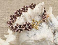Purple Beaded Bracelet by CatchTheBeads on Etsy