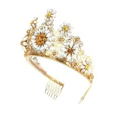 Dolce & Gabbana Crystal-Embellished Tiara ($1,885) ❤ liked on Polyvore featuring accessories, hair accessories, hats/hair accessorie, gold, dolce&gabbana, gold tiara and gold hair accessories
