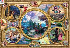 Ceaco Disney Jigsaw Puzzle | #Kinkade #DisneyPuzzle Thomas Kinkade Puzzles, Disney Collage, Disney 2000, Thomas Kinkade Disney Paintings, Disney Jigsaw Puzzles, 2000 Piece Puzzle, Thomas Kincaid, Puzzle Frame, Disney Drawings