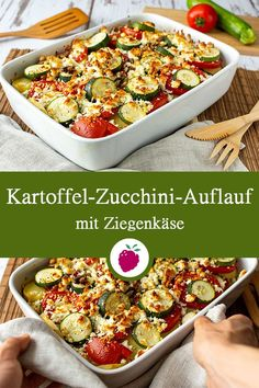 Kartoffel-Zucchini-Auflauf mit Ziegenkäse Kartoffel Zucchini … Potato and zucchini bake with goat cheese Potato zucchini casserole with tomatoes and goat cheese Zucchini Casserole, Casserole Recipes, Soup Recipes, Chicken Recipes, Dinner Recipes, Zucchini Lasagne, Crockpot Recipes, Easy Healthy Recipes, Vegetarian Recipes