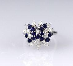 Butterfly Diamond & Sapphire 14k White Gold Ring   201-232 Estate  #Unbranded #Cluster