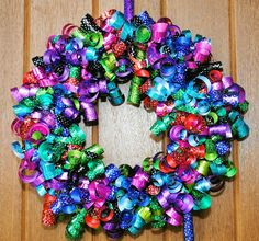 Birthday ribbon wreath. This one uses only about 200 feet of ribbon, pins & a wreath form. Isn't it pretty?