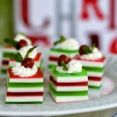 Holly Jolly Jelly Shots. This festive finger food is spiked with vodka for a playful party treat.