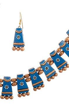 Blue #Terracotta #Necklace Set With Golden Beads at Bazzzar.com