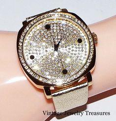 Joan Boyce Crystal Oversized Face Yellow Gold Tone Leather Strap Watch NEW HSN #JoanBoyce #LuxuryDressStyles