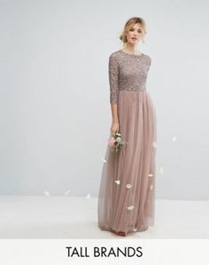 Maya Tall 3/4 Sleeve Maxi Dress With Delicate Sequin And Tulle Skirt