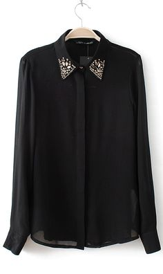 Solid color chiffon collar shirt 1646 Black