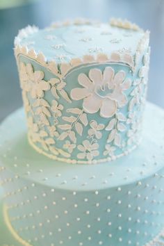 Beautiful Soft Blue Wedding Cake with swiss dots and lace detail |  Monika Gauthier Photography