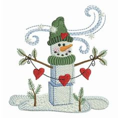 Winter Snowman Let It Snow Holiday Machine Embroidery Design Instant Download 4x4 hoop by embhome on Etsy https://www.etsy.com/listing/174361414/winter-snowman-let-it-snow-holiday