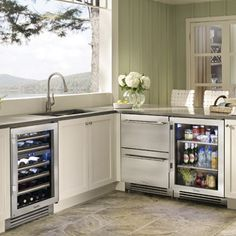 Rhode Island kitchen with True Residential Dual Zone Wine Cabinet, Undercounter Refrigerator, and Refrigerator Drawers Undercounter Refrigerator, Beverage Refrigerator, Kitchen Reno, Kitchen Remodel, Kitchen Appliances, Kitchen Ideas, Island Kitchen, Kitchen Inspiration, Wine Cabinets