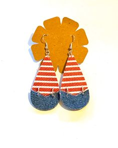 Excited to share this item from my shop: Striped faux leather teardrop earrings blue jean denim fabric red blue patriotic boho hippie women statement jewelry unique handmade fun Denim Earrings, Handmade Jewelry, Unique Jewelry, Stainless Steel Earrings, Denim Fabric, Boho Hippie, Teardrop Earrings, Statement Jewelry, Red And Blue