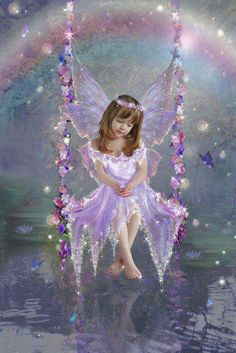 The Swing. I imagine some days that my beautiful angel babies in heaven look this glorious Fairy Dust, Fairy Land, Fairy Tales, Fairy Pictures, Angel Pictures, Fantasy World, Fantasy Art, Fantasy Fairies, I Believe In Angels