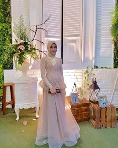8 Inspirations of Clothing For Engagement Outfit Outfit Kebaya Muslim, Muslim Gown, Kebaya Hijab, Kebaya Lace, Kebaya Dress, Dress Pesta, Hijab Gown, Hijab Dress Party, Muslimah Wedding Dress