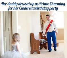 her dad dressed up as prince charming for her princess party