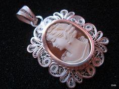 Handmade Silver Filigree Shell Cameo pendant Filigree Jewelry, Sterling Silver Filigree, Handmade Sterling Silver, Silver Jewelry, Silver Rings, Cameo Pendant, Shells, Amethyst, Carving
