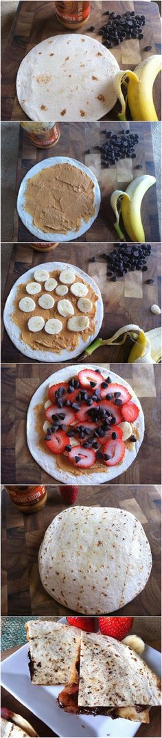 Dessert Quesadillas- sounds like a great pre gymnastics practice snack. Have to remove the chocolate chips of course