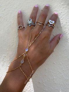 CZ Hand Chain Moonstone Hand Chain Bianca Moonstone Bracelet Moonstone Finger Bracelet