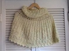 Crochet Cape, Caplet, soft yellow by Mywaycrochet on Etsy