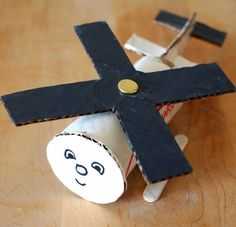 Creating homemade toys is always a blast, but it& even better when they don& cost a cent to make, like The Cutest Toilet Paper Roll Helicopter! Who would have guessed that toilet paper roll crafts could turn into hours of fun? Toilet Roll Craft, Toilet Paper Roll Crafts, Paper Crafts, Craft Activities, Preschool Crafts, Crafts For Kids, Craft Kids, Projects For Kids, Diy For Kids