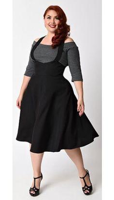 Unique Vintage Plus Size 1940s Style Black Button Maria Suspender Skirt