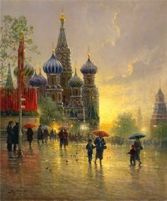 Harvey - Light Rain on Red Square - Serigraph Complete colection of art, limited editions, prints, posters and custom framing on sale now at Prints. Home Decor Paintings, Paintings I Love, Beautiful Paintings, G Harvey, Rain Painting, Umbrella Art, Parasols, Poster Prints, Art Prints