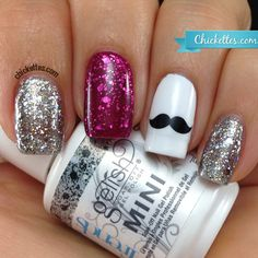 Movember mani using Gelish Trends glitter toppers