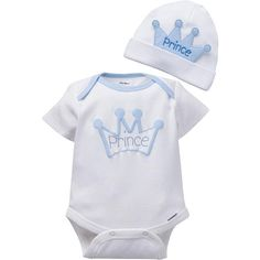 Give your newborn boy the royal treatment with Gerber 2-piece little prince bodysuit and coordinating cap set!  100% cotton set is designed for easy dressing and  quick diaper changes.  A charming, royal outfit for your little prince!<br>100% cotton<br>Lap-shoulder neckline for easy on/off dressing<br>Roll cuff on cap for perfect fit<br>3D applique/embroidery, screenprint with puff details<br>Machine wash, tumble dry<br>Imported