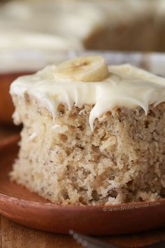 The BEST Banana Cake recipe! This cake is moist and delicious! It's a perfect way to use up ripe bananas!