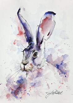Purple Hare - Original Watercolour Painting of a Hare by Tomasz Mikutel Animal Paintings, Animal Drawings, Art Drawings, Bunny Painting, Artist Painting, Watercolor Animals, Watercolor And Ink, Watercolour Painting, Rabbit Art