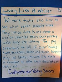 Living like a writer anchor chart (picture only)