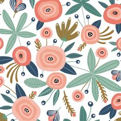 Seamless pattern with flowers,palm branch, leaves. Great for fabric, textile Vector Illustration - Royalty-free Seamless Pattern stock vector Flower Patterns, Print Patterns, Vintage Floral Patterns, Flower Pattern Design, Summer Patterns, Design Patterns, Pattern Print, Cortina Floral, Design Textile