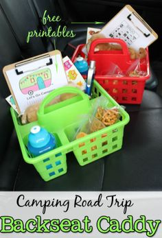 Camping Road Trip Essentials Back Seat Caddy with Printables