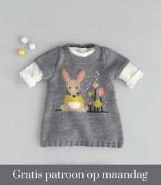 Gratis patroon - Breipatroon Jurkje - Hobbydoos.nl Crochet Baby, Knit Crochet, Pull Bebe, Knit Baby Sweaters, Baby Knitting Patterns, Kids And Parenting, Baby Dress, Lana, Toddler Girl
