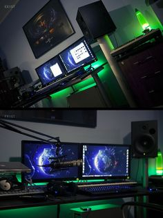 reddit user EX1ST's battlestation. The green glow, the ambient lighting, the framed SCII poster.... unreal station. This is epic quality.