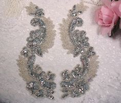 0180 Silver Mirror Pair Sequin Beaded Appliques 8 by gloryshouse