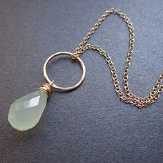 Hammered circle necklace with Pale Green Chalcedony