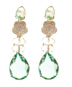 Gold, zirconia, Brazilian natural stone and cristal.  Modular earring: It separates in 3 pieces and you can mount and unmount creating the perfect jewel for the occasion! Check more on www.lzdesignerjewelry.com