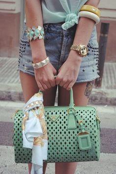 Prada mint perforated handbag.