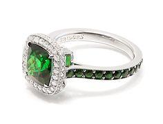 Eternity 3.28 carat Tsavorite and Diamond Ring