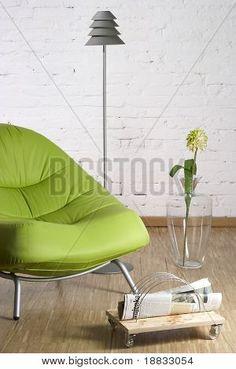 green chair, newspaper, simple design, love it ;)