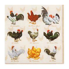 4 Proud Rooster Paper Napkins Set Napkins for Decoupage Technique Party Napkin