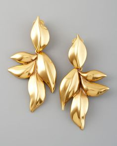 Oscar de la Renta gold leaf earrings