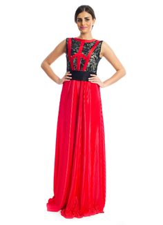 For that added touch of uniqueness to your modern look, this maxi dress from Xela makes a great buy! It features red and black fabric sheath silhouette with the lace details and a contrast waistband to give that touch of sophistication to every woman! Makes a splendid choice for an evening yet stylish look.