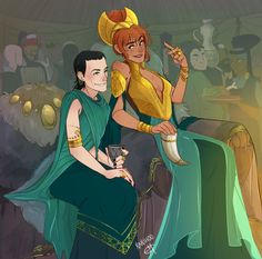 Finally got this one done! This is Loki x Sigyn Consort AU stuff where Loki gets basically sold off and married to King Sigyn, new beloved ruler of Vanaheim. It's a rocky road but when . Loki Thor, Loki And Sigyn, Loki Art, Tom Hiddleston Loki, Loki Laufeyson, Marvel Funny, Marvel Memes, Marvel Avengers, Vikings