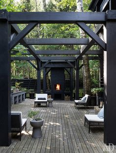 10 Unique And Stunning Pergola Design With Dark Rustic Style Outdoor Spaces One of the most attractive and well-liked outdoor structures today is the dark wood pergola. This kind of pergola can blend beautifully with your pati. Diy Pergola, Black Pergola, Pergola Carport, Small Pergola, Pergola Swing, Metal Pergola, Pergola Shade, Pergola Kits, Metal Roof