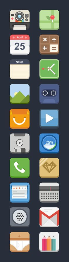 3D Flat Icons by Blues design, via Behance